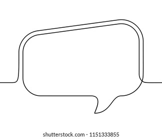 Continuous line drawing of rectangular speech bubble, Black and white vector minimalistic linear illustration made of one line