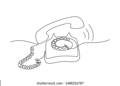 Continuous line drawing of retro style telephone ringing. Minimalistic black line sketch on white background. Vector illustration
