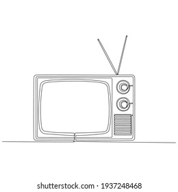 continuous line drawing of retro tv vector illustration