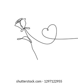 Continuous line drawing of rose petal vector illustration minimalist design