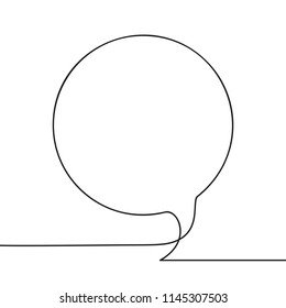 Continuous line drawing of round speech bubble, Black and white vector minimalistic linear illustration made of one line