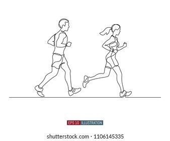 Continuous line drawing of running man and woman. Template for your design. Vector illustration.