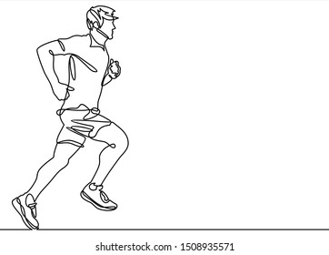 Continuous line drawing of running man. Vector illustration.