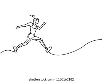 Continuous line drawing running woman , runner sport theme