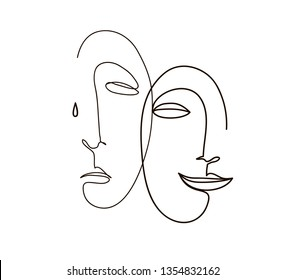 Continuous line, drawing of sad and happy faces, fashion minimalist concept, vector illustration.