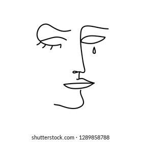 Continuous line, drawing of sad woman face, fashion minimalist concept, vector illustration.