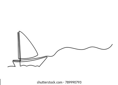 Continuous line drawing of sailboat with captain. Business icon. Vector illustration