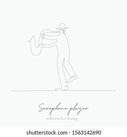 continuous line drawing. saxophone player. simple vector illustration. saxophone player concept hand drawing sketch line.