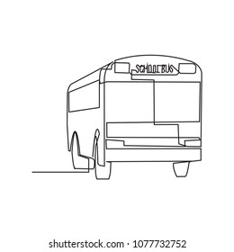 Continuous line drawing of a school bus Vector illustration