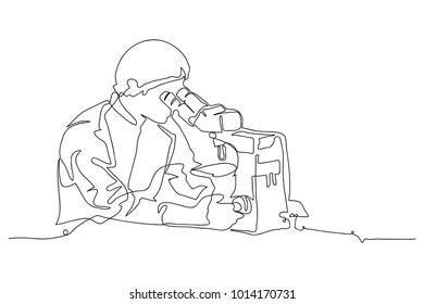 continuous line drawing of Scientist man looking through microscope in laboratory vector