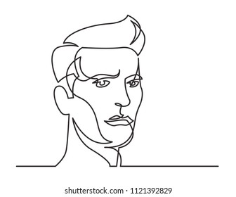 continuous line drawing of serious man portrait on white background