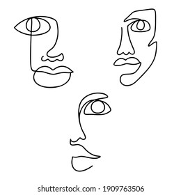 Continuous line drawing set. Abstract woman portrait. One line face art vector illustration. Female linear contour isolated on white. Minimal outline silhouette.