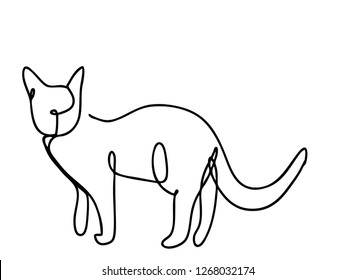 Continuous line, drawing of set cat minimalist, vector