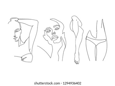 Continuous line, drawing of set of epilation zones for your design. Spa beauty concept. Hand drawn vector illustration.