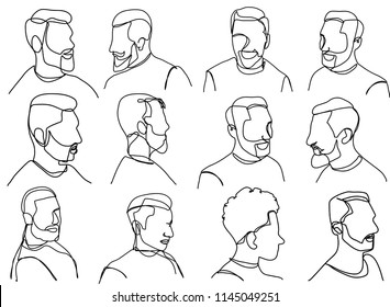 Continuous line, drawing of set faces and hairstyle, fashion concept, beauty minimalist, vector Man with a Mustache