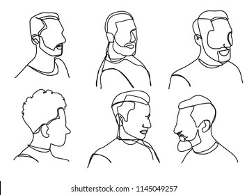 Continuous line, drawing of set faces and hairstyle, fashion concept, woman beauty minimalist, vector Man with a Mustache