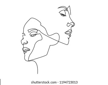 8db6e84d075 Continuous line, drawing of set faces and hairstyle, fashion concept, woman  beauty minimalist