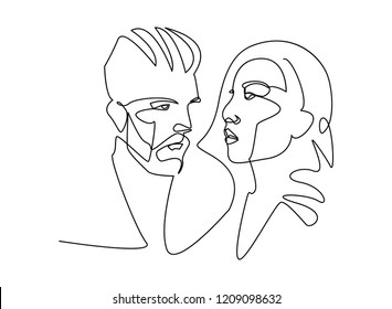 Continuous line, drawing of set faces and hairstyle, fashion concept, woman and man beauty minimalist, vector