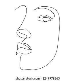 Continuous line, drawing of set faces and hairstyle, fashion concept, woman beauty minimalist, vector