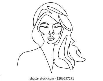 beautiful young girl long wavy hair stock vector royalty free 30 S Hair continuous line drawing of set faces and hairstyle fashion concept woman beauty minimalist