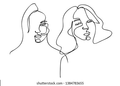 Continuous line, drawing of set faces and hairstyle, fashion concept, woman beauty minimalist, vector illustration for t-shirt, slogan design print graphics style