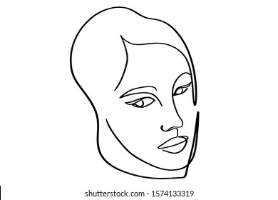 Continuous line, drawing of set faces and hairstyle, fashion concept, woman beauty minimalist, vector illustration
