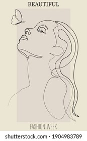Continuous line, drawing of set faces and hairstyle, fashion concept, woman beauty minimalist, vector illustration pretty sexy.