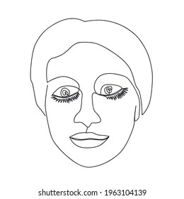 Continuous line, drawing of set faces and hairstyle, fashion concept, woman beauty minimalist, illustration design print