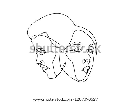 Continuous Line Drawing Set Faces Hairstyle Stock Vector Royalty