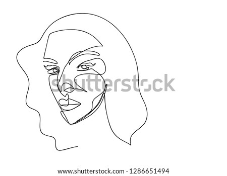 169d0128 Continuous line, drawing of set faces and hairstyle, fashion concept, woman  beauty minimalist, vector illustration for t-shirt, slogan design print  graphics ...