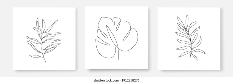 Continuous Line Drawing Set Of Prints Black Sketch Leaves on White Background. Tropical Leaves One Line Illustration. Minimalist Prints Set. Vector EPS 10.