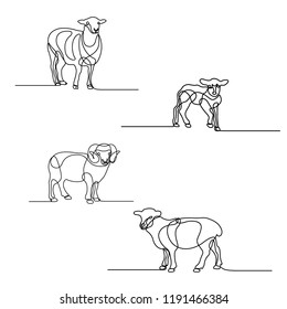 Continuous line drawing set of sheeps. Design elements for islamic holidays. Vector illustration.