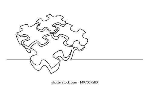 continuous line drawing of several 3D puzzle pieces connected together
