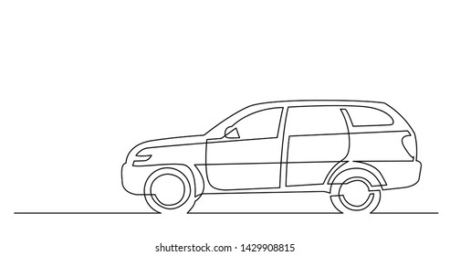 continuous line drawing of side view of modern suv car