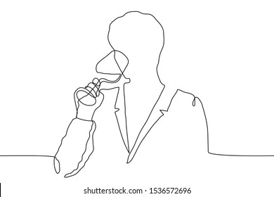 continuous line drawing silhouette of a man in a jacket languishingly drinking from a glass goblet. A man relishes a drink. The concept of sommelier, relaxation, tasting. It can be used for animation.