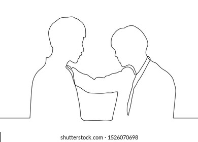a continuous line drawing of the silhouette of two men standing facing each other, one of them put his hand on the other's shoulder. It can be used for animation. Vector