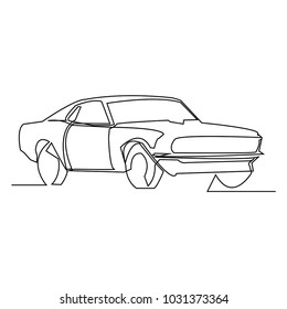 continuous line drawing of a simple car vector illustration