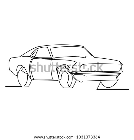 Continuous Line Drawing Simple Car Vector Stock Vector Royalty Free