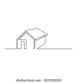 continuous line drawing of simple modern construction vector illustration