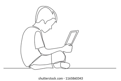 continuous line drawing of sitting boy watching laptop computer