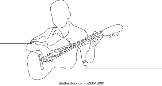 continuous line drawing of sitting guitarist playing guitar