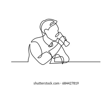 Continuous line drawing of sitting man drinking beer. Vector illustration.