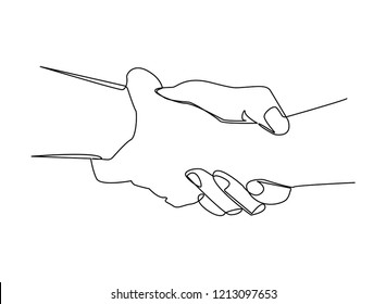 Continuous line, drawing of  Sketch illustration of two hands holding each other strongly