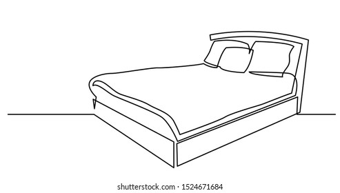 continuous line drawing of sleeping bed