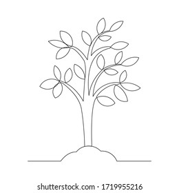 Continuous line drawing of small tree growth. Vector illustration