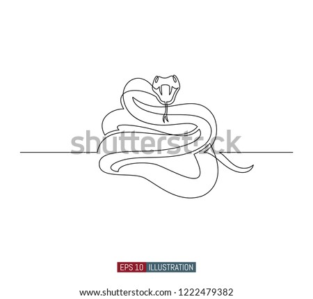 continuous line drawing snake template your stock vector royalty