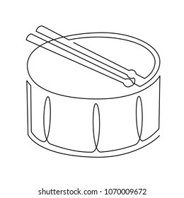 continuous line drawing of Snare Drum vector icon. Musical instrument single line for decoration, design, invitation jazz festival, music shop.