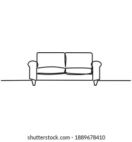 Continuous line drawing of sofa, one line sign, vector ilustration