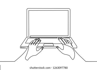 continuous line drawing of someone operating a computer
