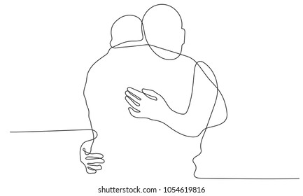 Continuous line drawing of son hugging father on white background.